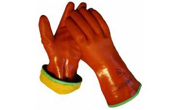 Cama-iso PVC gevoerde handschoenen (rood)