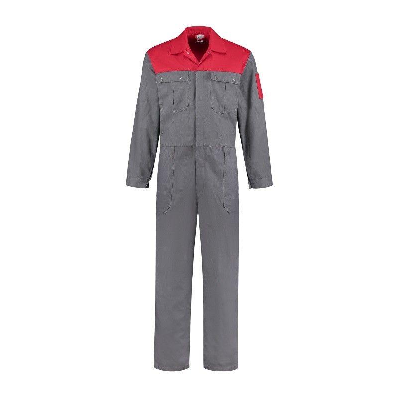 MM Overall katoen (grijs/rood)